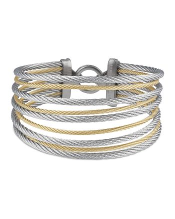 ALOR - Gray & Yellow Stacked Cable Bangle