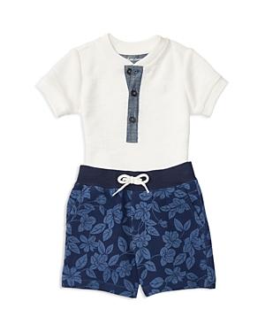 Ralph Lauren Childrenswear Infant Boys Waffle Henley  Terry Shorts Set  Sizes 324 Months