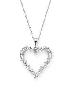 Bloomingdale's - Diamond Round and Baguette Heart Pendant Necklace in 14K White Gold, .75 ct. t.w. - 100% Exclusive