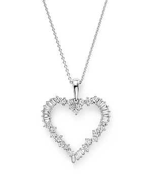 Diamond Round and Baguette Heart Pendant Necklace in 14K White Gold, .75 ct. t.w. - 100% Exclusive