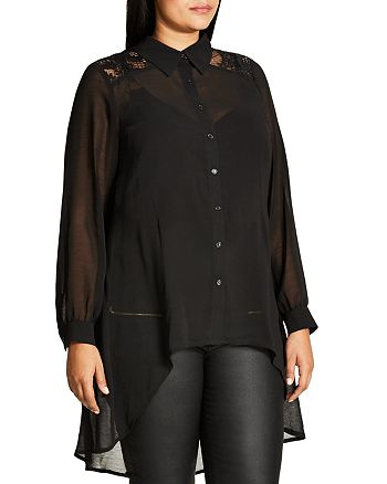City Chic Plus - Lace Yoke Sheer High Low Blouse