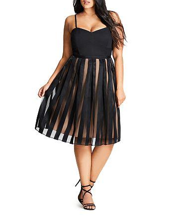 City Chic Plus - Pleated Stripe Skirt Dress