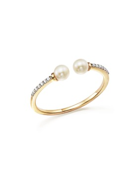 MATEO - 14K Yellow Gold Duo Cultured Freshwater Pearl and Diamond Ring