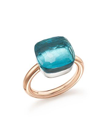 Pomellato - Nudo Maxi Ring with Blue Topaz in 18K Rose and White Gold