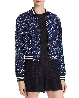 Alice And Olivia Alice Olivia Lonnie Embellished Bomber Jacket
