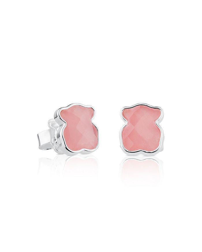 TOUS - Sterling Silver and Rose Quartz Bear Stud Earrings