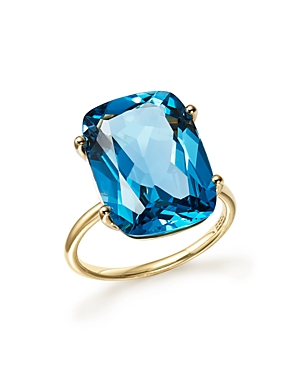 London Blue Topaz Statement Ring in 14K Yellow Gold - 100% Exclusive