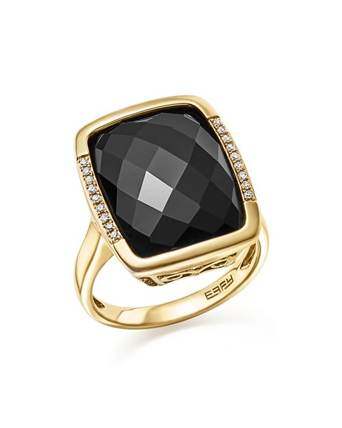 Bloomingdale's - Onyx and Diamond Pavé Statement Ring in 14K Yellow Gold - 100% Exclusive