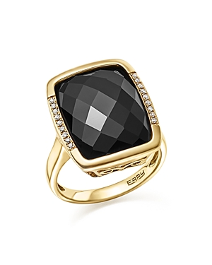 Onyx and Diamond Pave Statement Ring in 14K Yellow Gold - 100% Exclusive