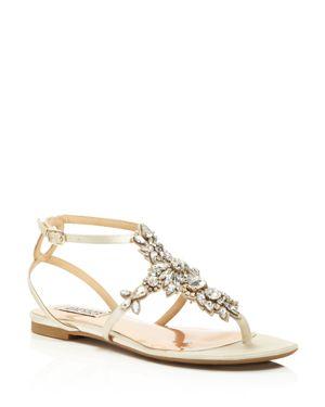 Badgley Mischka Cara Embellished Ankle Strap Sandals
