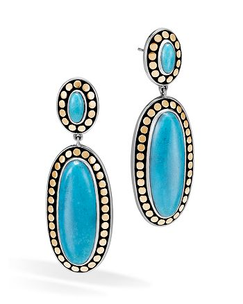 John Hardy - Sterling Silver and 18K Bonded Gold Dot Oval Drop Earrings with Turquoise