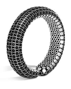 John Hardy Sterling Silver Dot Flex Cuff in Black, 15.5mm