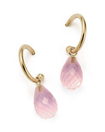 Bloomingdale's - Rose Quartz Briolette Hoop Drop Earrings in 14K Yellow Gold - 100% Exclusive