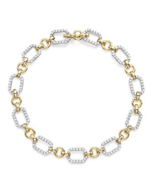 Diamond Link Bracelet in 14K Yellow and White Gold, 1.0 ct. t.w.