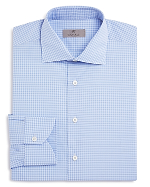 Canali Small Window Check Overcheck Modern Fit Dress Shirt