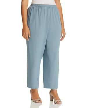 Eileen Fisher Plus Silk Straight Ankle Pants