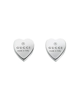 e19e0a8a0f3 Gucci - Sterling Silver Engraved Heart Stud Earrings