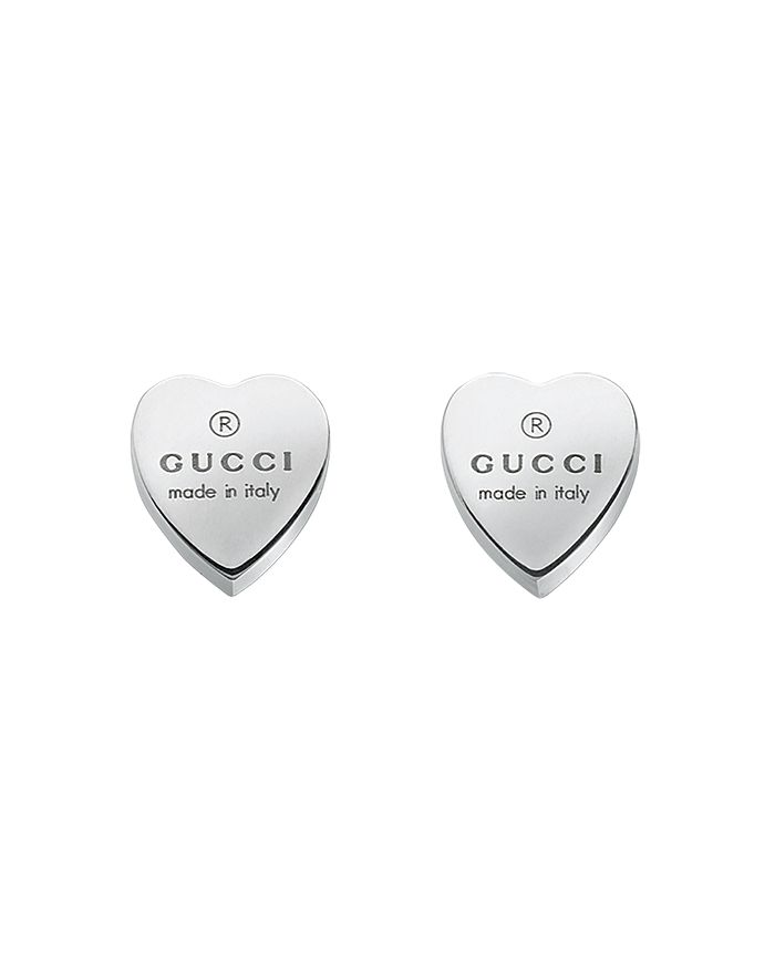 Gucci - Sterling Silver Engraved Heart Stud Earrings