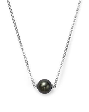 Cultured Tahitian Black Pearl Pendant Necklace on 14K White Gold, 18 - 100% Exclusive