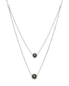 "Bloomingdale's - Cultured Tahitian Black Pearl Two Row Necklace in 14K White Gold, 17"" - 100% Exclusive"