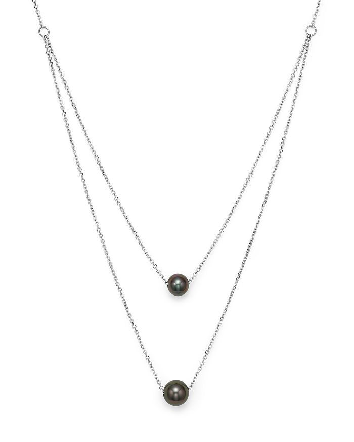 """Bloomingdale's - Cultured Tahitian Black Pearl Two Row Necklace in 14K White Gold, 17"""" - 100% Exclusive"""