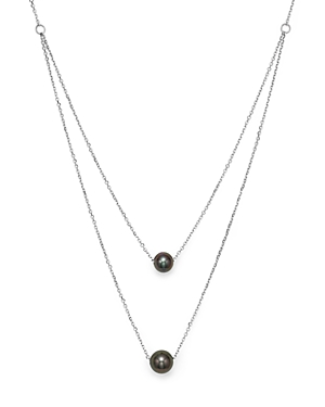 Cultured Tahitian Black Pearl Two Row Necklace in 14K White Gold, 17 - 100% Exclusive