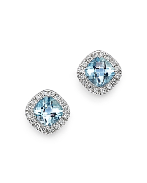 Aquamarine Cushion Cut and Diamond Stud Earrings in 14K White Gold - 100% Exclusive
