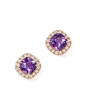 Amethyst Cushion Cut and Diamond Stud Earrings in 14K Rose Gold - 100% Exclusive