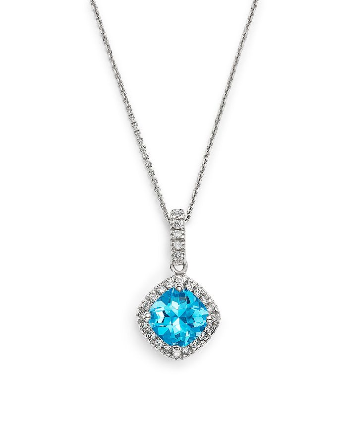 """Bloomingdale's - Blue Topaz Cushion and Diamond Pendant Necklace in 14K White Gold, 16""""- 100% Exclusive"""