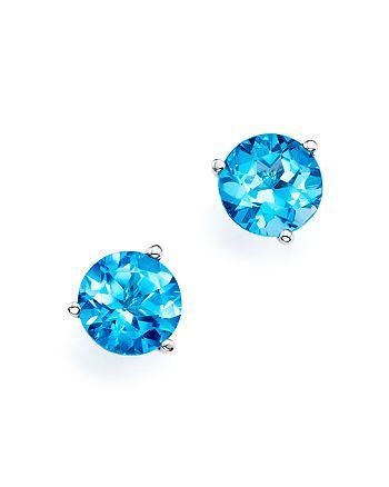 Bloomingdale's - Blue Topaz Stud Earrings in 14K White Gold- 100% Exclusive