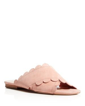 Isa Tapia Ana Maria Suede Scalloped Slide Sandals