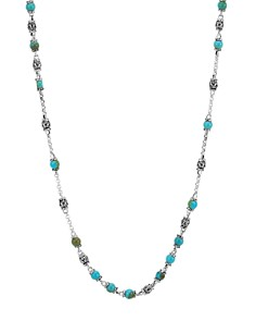 """JOHN HARDY - Sterling Silver Classic Chain Turquoise with Black Matrix Beaded Necklace, 28"""""""
