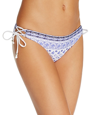 Shoshanna Batik Print Side Laced Bikini Bottom