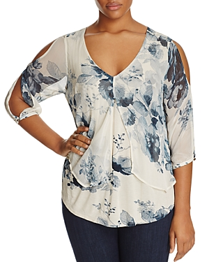 Lucky Brand Plus Split Overlay Floral Print Top