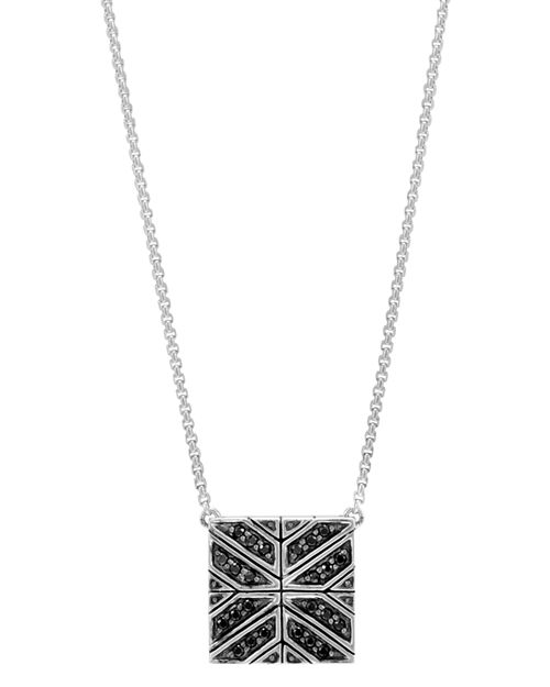 """JOHN HARDY - Sterling Silver Modern Chain Black Sapphire Square Pendant Necklace, 16"""""""