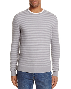 The Men's Store at Bloomingdale's Stripe Cotton Blend Crewneck Sweater - 100% Exclusive