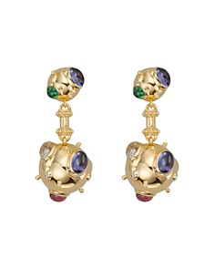 Temple St. Clair - 18K Yellow Gold Cosmos Double Drop Earrings with Royal Blue Moonstone, Tsavorite, Tanzanite, Pink Tourmaline and Diamonds