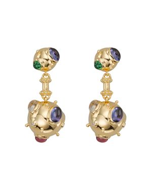 Temple St. Clair 18K Yellow Gold Cosmos Double Drop Earrings with Royal Blue Moonstone, Tsavorite, T