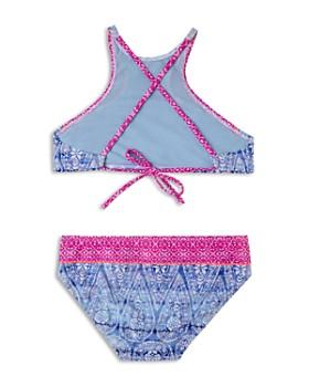 Gossip Girl - Girls' Printed High Neck 2-Piece Swimsuit - Big Kid