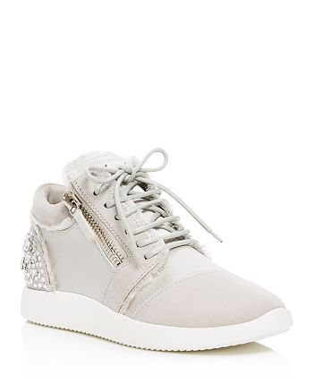 Giuseppe Zanotti - Women's Embellished Satin and Suede Mid Top Sneakers  - 100% Exclusive