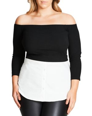 City Chic Off-The-Shoulder Layered Look Top