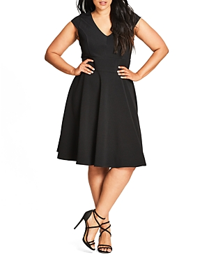 New City Chic Chevron Dress, Black