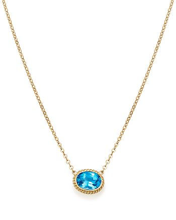 "Bloomingdale's - Blue Topaz Bezel Pendant Necklace in 14K Yellow Gold, 18"" - 100% Exclusive"