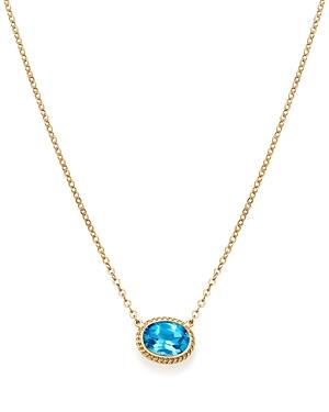 Blue Topaz Bezel Pendant Necklace in 14K Yellow Gold