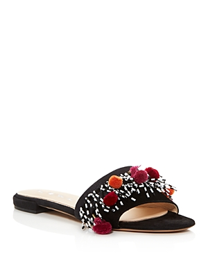 Aska Babs Beaded Pom-Pom Slide Sandals
