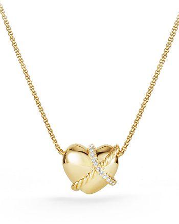 David Yurman - Le Petit Coeur Sculpted Heart Pendant Necklace with Diamonds in 18K Gold