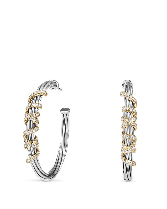 David Yurman - Helena Large Hoop Earrings with Diamonds and 18K Gold