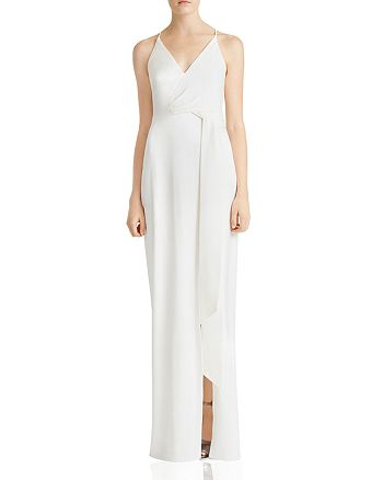 HALSTON HERITAGE - Satin-Backed Crepe Gown with Sash