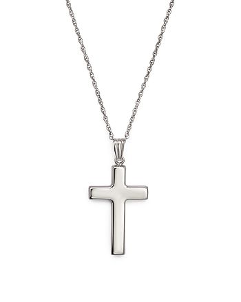 """Bloomingdale's - 14K White Gold Polished Cross Necklace, 18"""" - 100% Exclusive"""