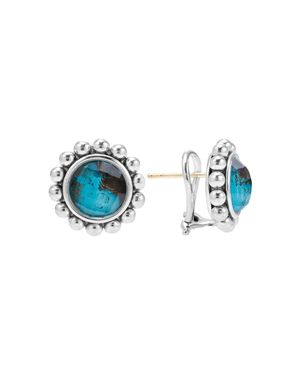 Lagos Sterling Silver Maya Escape Chrysocolla Doublet Round Omega Clip Earrings